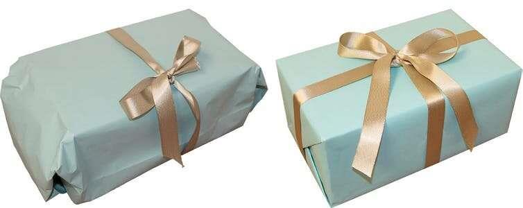 Sloppy vs Neat Giftwrapping